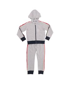 Moncler Jr - Gray tracksuit with branded stripes