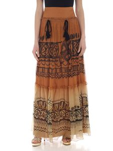 Alberta Ferretti - Brown chiffon skirt with tassels