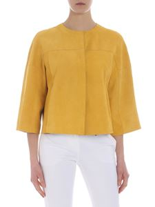 DROMe - Yellow crewneck jacket in suede leather