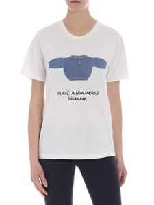 MM6 by Maison Martin Margiela - White t-shirt with blue kidswear print