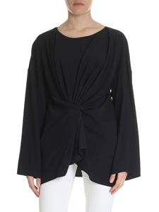 MM6 by Maison Martin Margiela - Black flared top with drapery