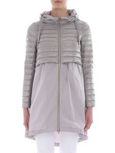 Herno - Asymmetrical down jacket in dove-grey color