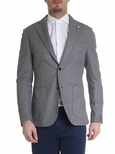 L.B.M. 1911 - Blue and white knitted jacket