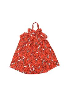 MSGM - Dress with leaves print in red and white