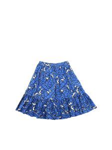 MSGM - Skirt with leaves print in blue and white