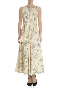 Erika Cavallini - Floral printed beige cotton dress