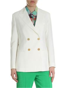 Erika Cavallini - Double-breasted jacket in ivory white