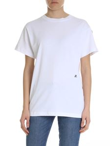 Helmut Lang - White oversize t-shirt with logo embroidery