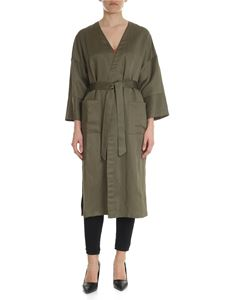 Semicouture - Green viscose and linen overcoat
