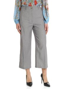 Semicouture - Blue and beige striped cropped trousers