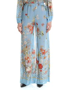 Semicouture - Light blue palazzo trousers with floral print