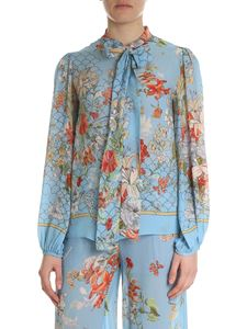 Semicouture - Light-blue floral printed shirt