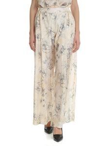 Erika Cavallini - Trousers in beige silk with floral print
