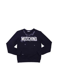 Moschino Kids - Black sweatshirt with piercings print