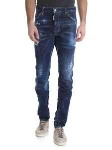 Dsquared2 - Cool Guy jeans in blue with tears and yellow spots of color