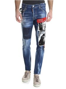 Dsquared2 - Skater jeans in blue with multicolor rubberised prints