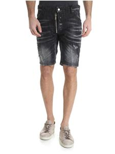 Dsquared2 - Delavé black shorts with Dan Caten print