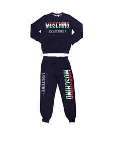 Moschino Kids - Black tracksuit with logo prints