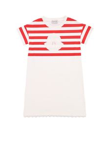 Moncler Jr - Red and white striped dress with logo