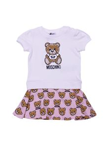 Moschino Kids - White dress with Teddy Bear Toy prints