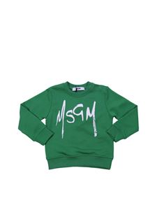 MSGM - Green cotton sweatshirt with contrasting logo print