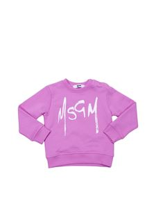 MSGM - Pink cotton sweatshirt with contrasting logo print