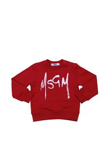 MSGM - Red cotton sweatshirt with contrasting logo print