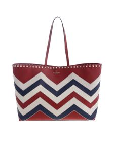 Valentino - Tote Rockstud Chevron shoulder bag in red