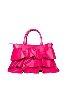 Borbonese - Borsa Shopping Media fucsia con rouches