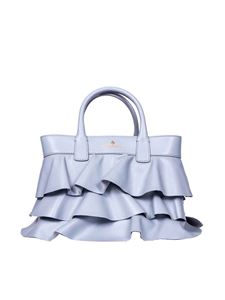 Borbonese - Borsa Shopping small in pelle color polvere