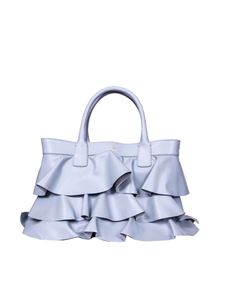 Borbonese - Borsa Shopping Media azzurra con rouches
