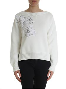 Parosh - Cream-colored pullover with floral patch