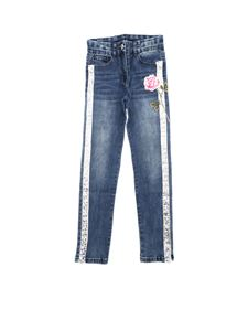 Monnalisa - Blue jeans with sequins and floral embroidery
