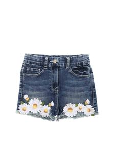 Monnalisa - Shorts in denim con ricami margherite