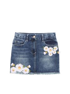 Monnalisa - Blue denim skirt with floral embroidery