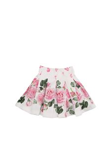 Monnalisa - Gonna corta bianca con stampa rose