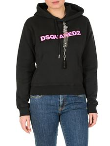 Dsquared2 - Black sweatshirt with bright pink logo print