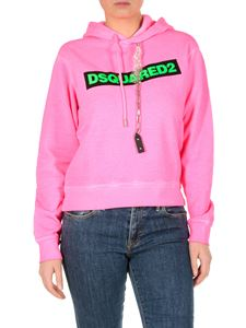 Dsquared2 - Bright pink sweatshirt with green logo print