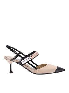 Prada - Sling back in nude and black color leather