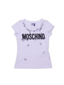 Moschino Kids - White t-shirt with piercings print