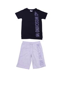 Moschino Kids - Black and gray t-shirt and bermuda tracksuit