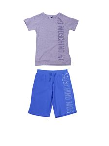 Moschino Kids - Gray and blue t-shirt and bermuda tracksuit