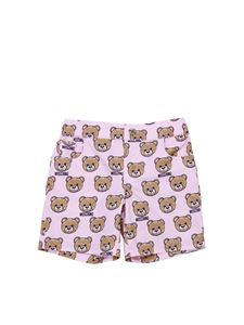 Moschino Kids - Pink 5-pocket shorts with Teddy Bear