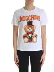 Moschino - T-shrt in white Teddy Circus cotton jersey