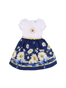 Monnalisa - Daisies printed dress in white and blue