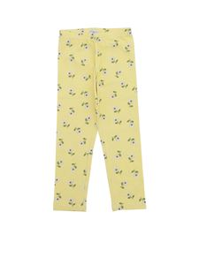 Monnalisa - Floral printed leggings in yellow