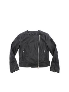 Monnalisa - Black eco-leather jacket with rhinestones