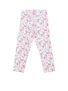 Monnalisa - Leggings bianco con stampa floreale all over