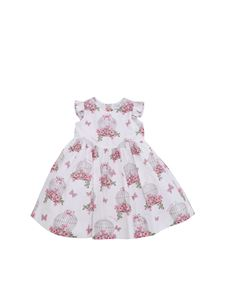 Monnalisa - White dress with pink Cages print
