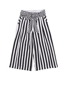 Monnalisa - Cropped pants with white and black stripes
